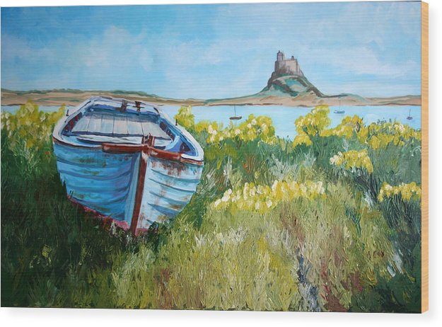 Seascape Wood Print featuring the painting Boat On Lindisfarne. by John Cox