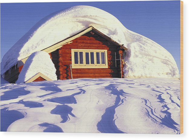 Cabin Wood Print featuring the photograph Elfin Lks. Hut by John Bartosik