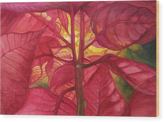 Floral;watercolor Floral;poinsettia;conceptual;poinsettias;christmas;holiday;flower;flowers;plant; Wood Print featuring the painting Into The Light by Lois Mountz
