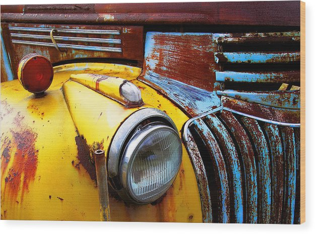Truck Wood Print featuring the photograph Old Chev Truck On Hwy 69 by John Bartosik