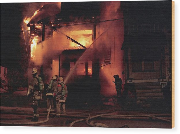 Fire Wood Print featuring the photograph 071506-4 Cleveland Firefighters On The Job by Mike Davis