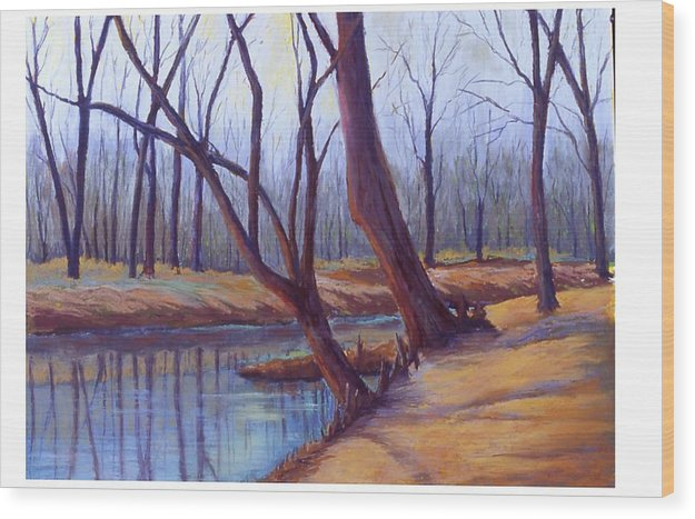 Landscape Wood Print featuring the painting Cypress Trees by MaryAnn Stafford
