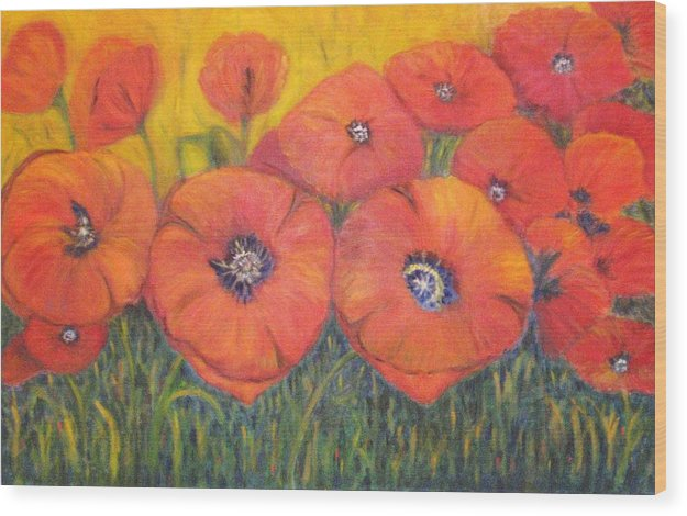 Poppies Wood Print featuring the painting Poppies For My Sister by Patricia Ortman