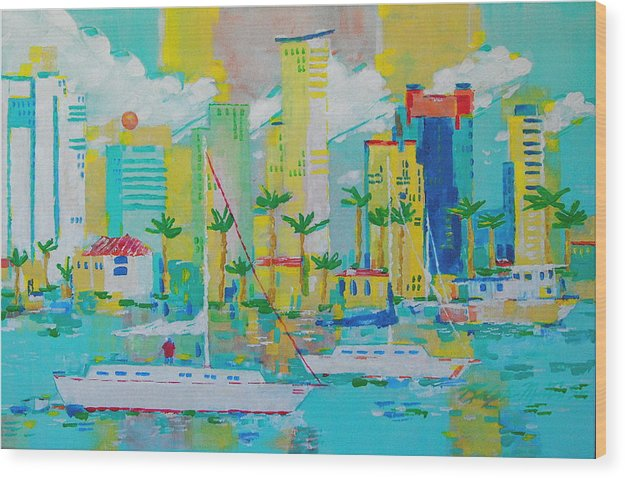 Water Wood Print featuring the painting Bay View by Art Mantia