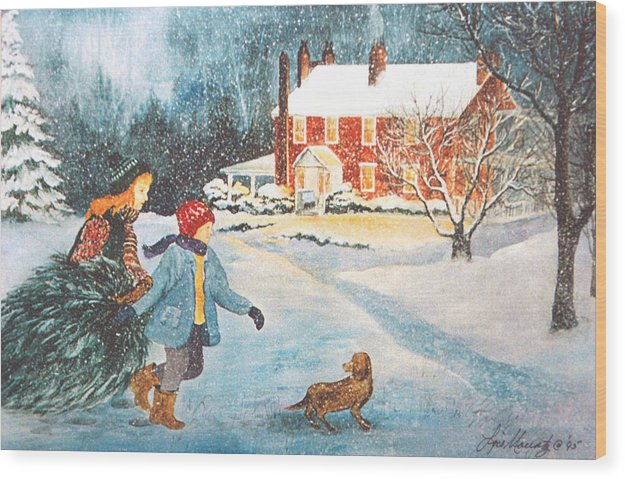 Winter;snow;christmas Tree;children;dog;brick House;farm House; Wood Print featuring the painting Bringing In The Tree by Lois Mountz