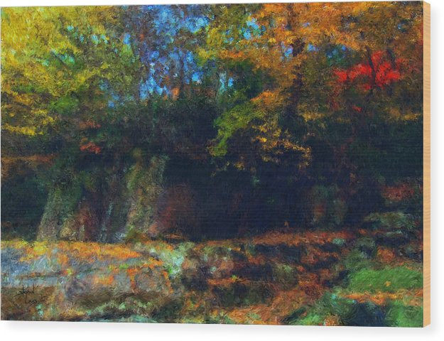 Autumn Wood Print featuring the digital art Bursting Autumn Cheer by Stephen Lucas