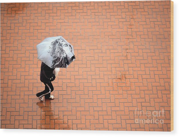 East Wood Print featuring the photograph Going East- Umbrellas Series 1 by Carlos Alvim