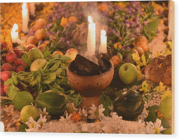 Dia Del Muerte Wood Print featuring the photograph Dia Del Muerte Altar by Betsy Snider