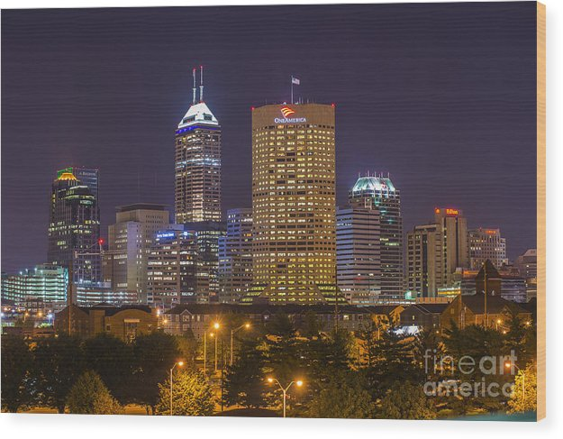 Indiana Wood Print featuring the photograph Indianapolis Night Skyline Echo by David Haskett II
