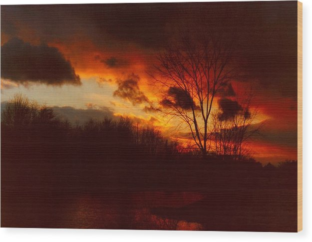 Sunrise Wood Print featuring the photograph 072806-3 by Mike Davis