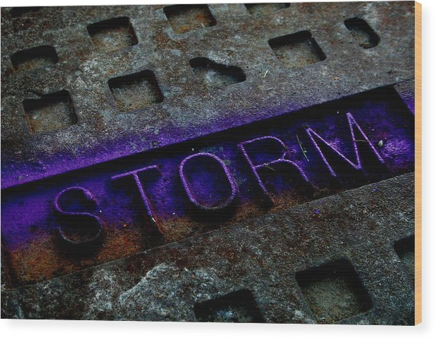 Abstract Wood Print featuring the photograph Storm by Erika Lesnjak-Wenzel