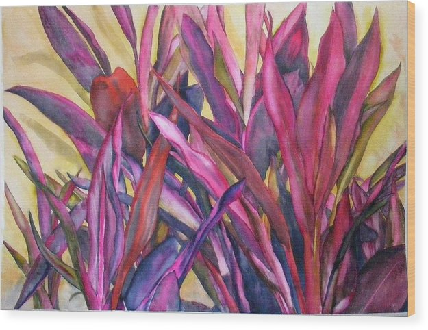 Floral Wood Print featuring the painting Cancun Fires by Diane Ziemski