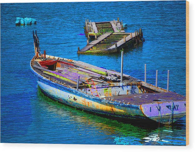 Wood Print featuring the digital art Docked Boat by Danielle Stephenson