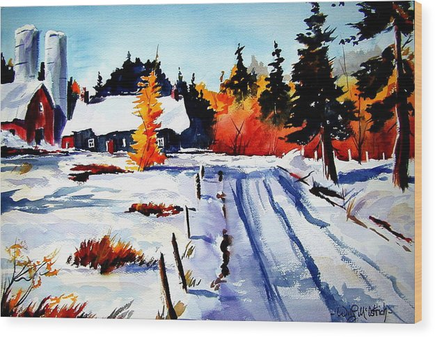 Landscape Wood Print featuring the painting First Snow And Last Of Fall by Wilfred McOstrich