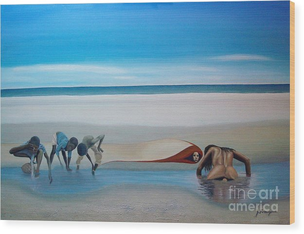 Seascape Wood Print featuring the painting Her Secret by Juan Romagosa