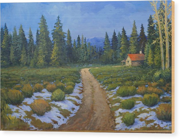 Landscape Wood Print featuring the painting Merories Take Me Home by Bob Adams