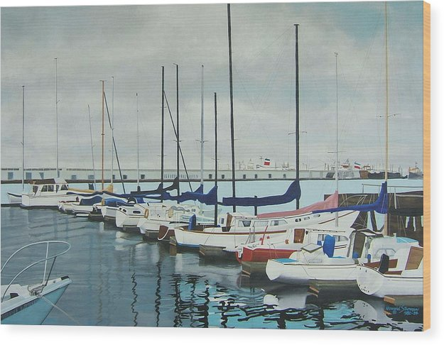 Boats At Dock Wood Print featuring the painting Mozells Boats by Howard Stroman
