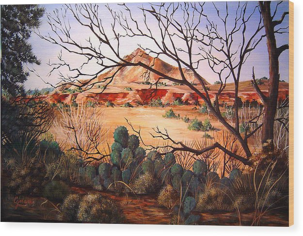 Palo Duro Canyon Wood Print featuring the painting Palo Duro Canyon by Cynara Shelton