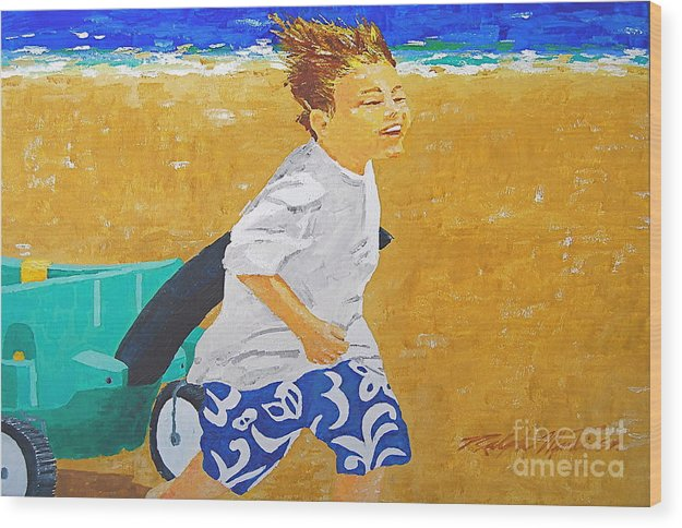 Children Wood Print featuring the painting Running Against The Wind by Art Mantia