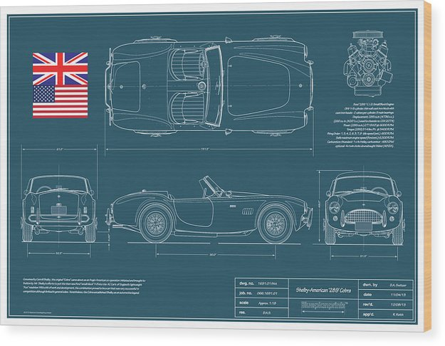 Carroll Shelby Wood Print featuring the drawing Shelby-american 289 Cobra by Douglas Switzer