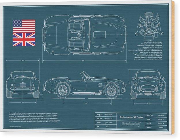 427 Cobra Wood Print featuring the drawing Shelby American 427 Cobra Blueplanprint by Douglas Switzer