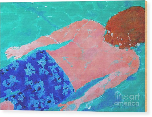 Swimming Wood Print featuring the painting Silent Motion by Art Mantia