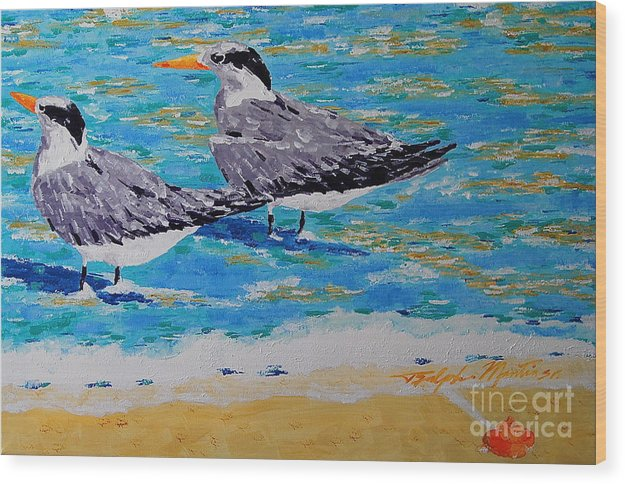 Beach Art Wood Print featuring the painting South Beach Visitors by Art Mantia