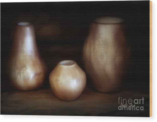 Still Life Wood Print featuring the painting The Potter by Carolyn Staut