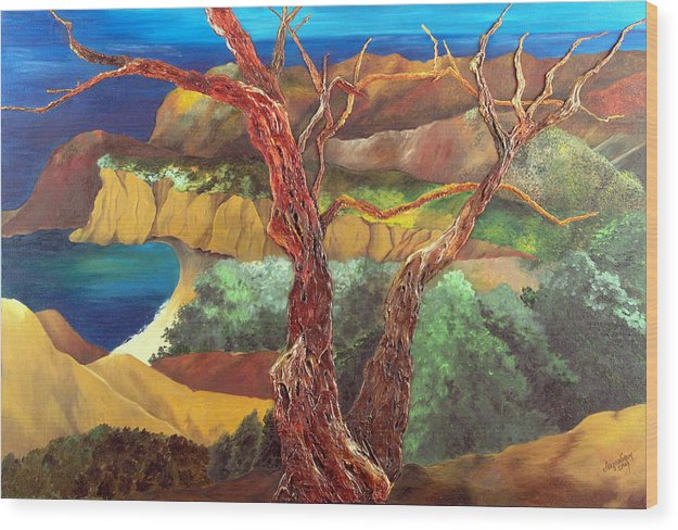 Landscape- Seascape Wood Print featuring the painting Anew by Helene Lagoudakis