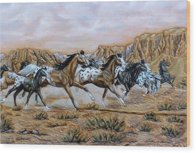 Horses Wood Print featuring the painting Being Free by Lilly King
