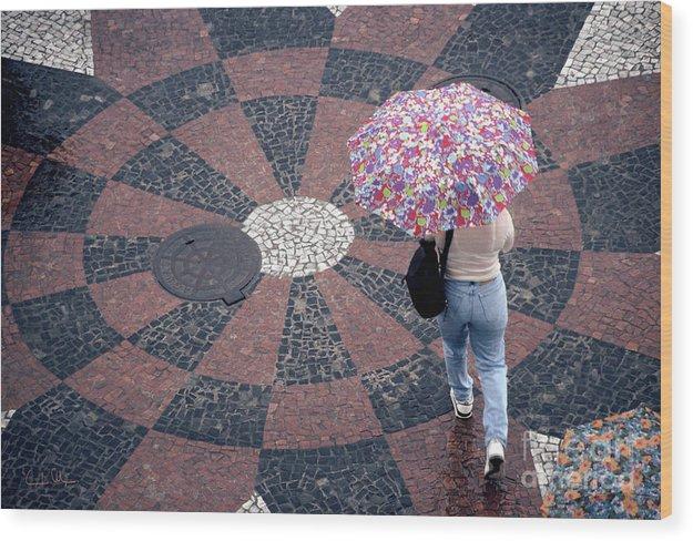 Rain Wood Print featuring the photograph Florida - Umbrellas Series 1 by Carlos Alvim