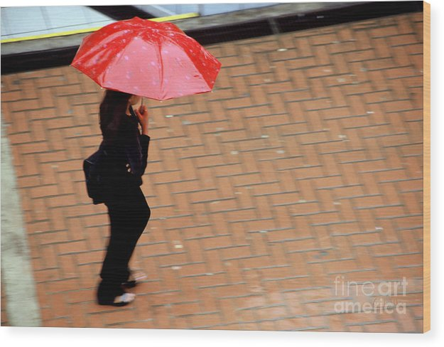 Rain Wood Print featuring the photograph Red 1 - Umbrellas Series 1 by Carlos Alvim