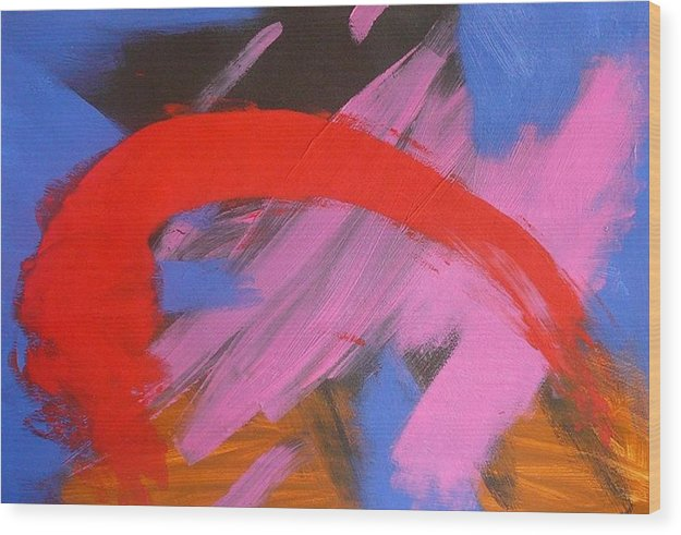 Abstract Wood Print featuring the painting Red Arch by Richard OBrien