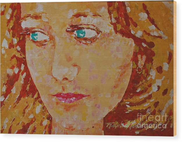 Portraiture Wood Print featuring the painting Young Love by Art Mantia