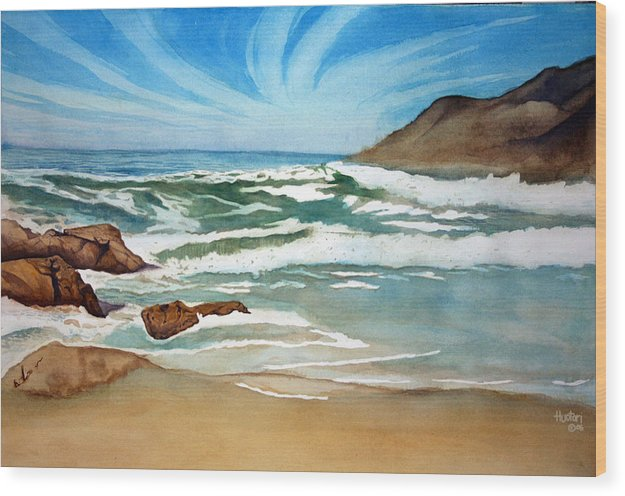 Rick Huotari Wood Print featuring the painting Ocean Side by Rick Huotari