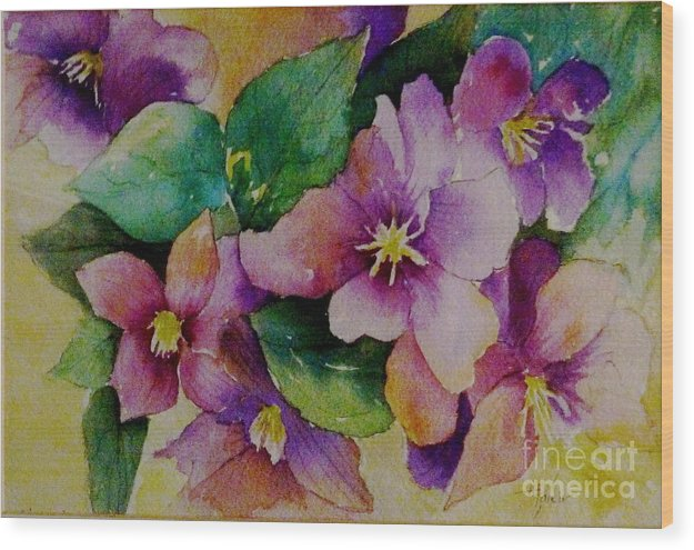 Floral Wood Print featuring the painting Clematis by Alma Pancir