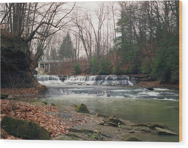 Waterfall Wood Print featuring the photograph 092507-2 by Mike Davis