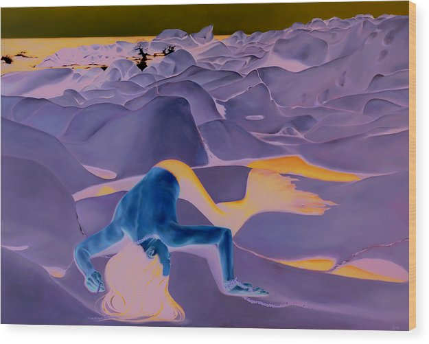 Landscape Wood Print featuring the painting La Fin Des Illusions 2 by Helene Fleury