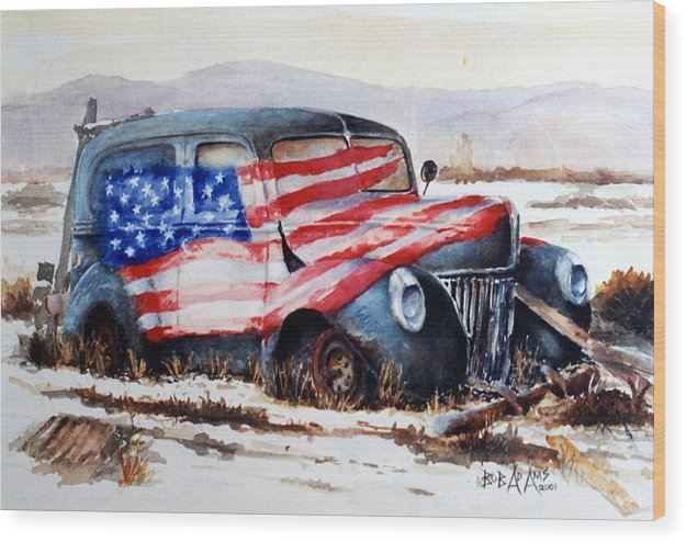 Old Truck Wood Print featuring the painting Old Glory by Bob Adams