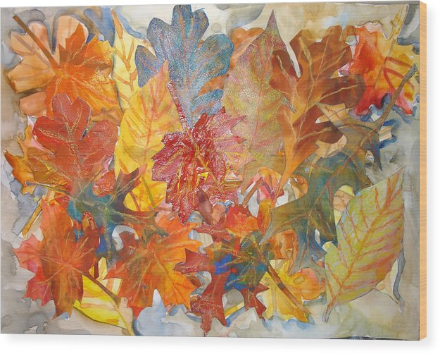 Collage Wood Print featuring the mixed media autumn Leaves Collage III by Joyce Kanyuk