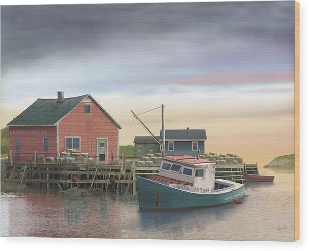 Lobster Fishing Cabin Wood Print featuring the digital art Bygonedays by Russell Cleversley