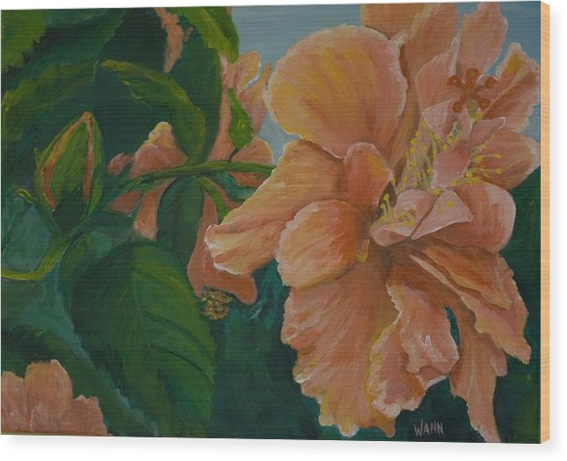 Flower Wood Print featuring the painting Double Hibiscus by Anita Wann