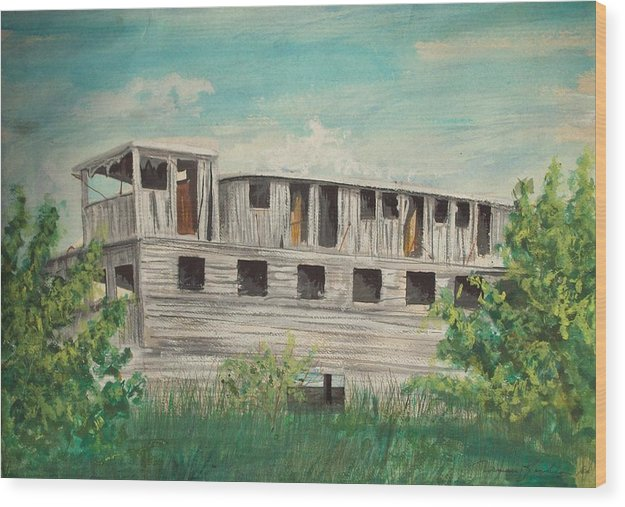 Boat Wood Print featuring the painting The Riverboat Majestic by Norman F Jackson