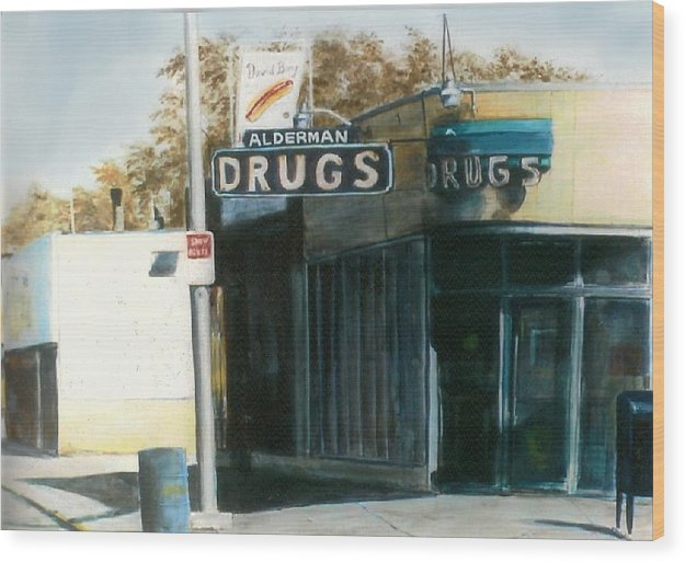 Urban Wood Print featuring the painting Alderman Drugs by William Brody