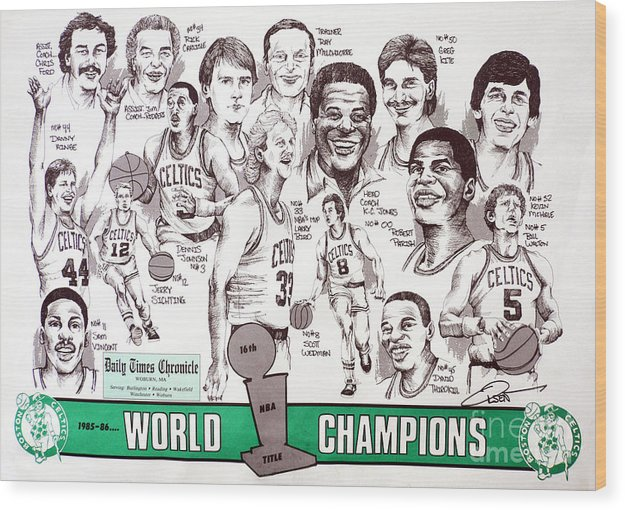 Nba Wood Print featuring the drawing 1986 Boston Celtics Championship Newspaper Poster by Dave Olsen