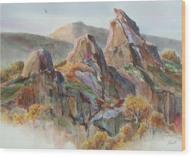 Landscape Mixed Media Wood Print featuring the painting Three Sisters by Don Trout