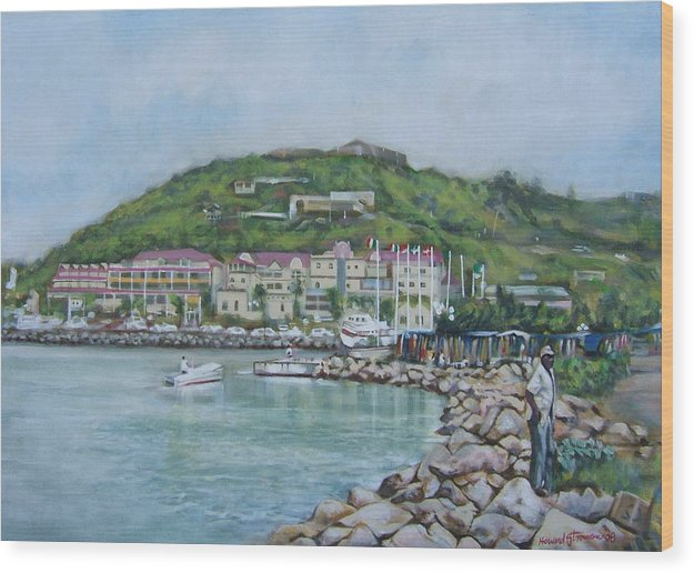 Island Wood Print featuring the painting Isle At St Martin St Maarten by Howard Stroman