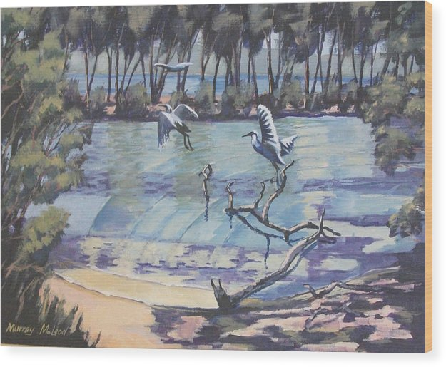 Seascape Wood Print featuring the painting Narrabeen Lakes 2 by Murray McLeod