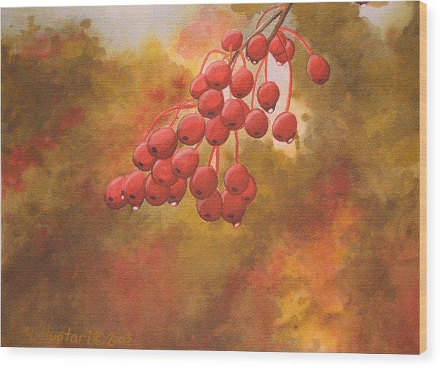 Rick Huotari Wood Print featuring the painting Door County Cherries by Rick Huotari