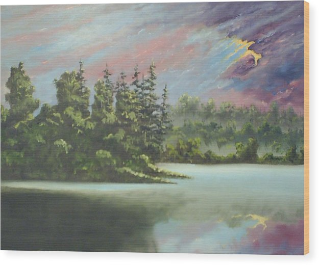 Landscape Wood Print featuring the painting After The Rain by Dennis Vebert